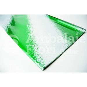 Ambalaje Flori ONLINE vinde Celofan diagonale verde inchis cu alb la pretul de 9.99 lei