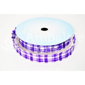 Rola Textila 2cm Carouri Mov cu Alb