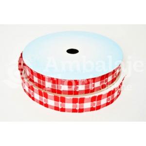Rola Textila 2cm Carouri Rosu cu Alb