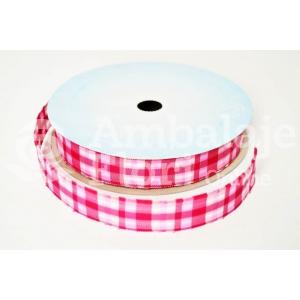 Rola Textila 2cm Carouri Roz cu Alb