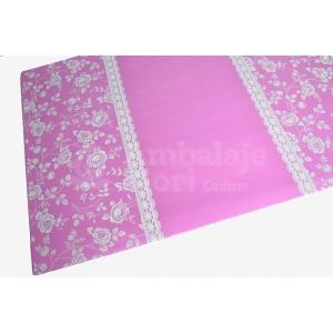 Ambalaje Flori ONLINE vinde Celofan Model Dantelat Roz la pretul de 12.9 lei