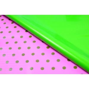 Ambalaje Flori ONLINE vinde Celofan 2 fete Buline - Roz cu Verde la pretul de 19.99 lei