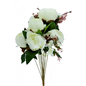 Buchet 7 Bujori Neo Mari Alb - ambalaje si accesorii florale
