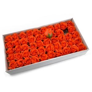 Ambalaje Flori ONLINE vinde Set 50 trandafiri sapun parfumati, atingere reala, 3P, portocaliu la pretul de 44.99 lei