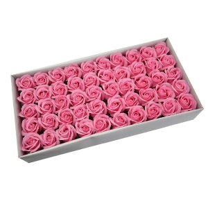 Ambalaje Flori ONLINE vinde Set 50 trandafiri sapun parfumati, atingere reala, 3P, roz la pretul de 44.99 lei