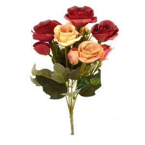 Buchet 10 Trandafiri Vintage Rosu/Frez