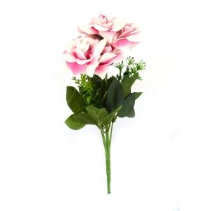 Buchet Mini 6 Trandafiri Roz cu Alb