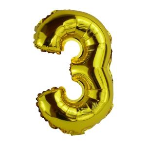 Balon Folie 35cm Cifra 3 - Auriu
