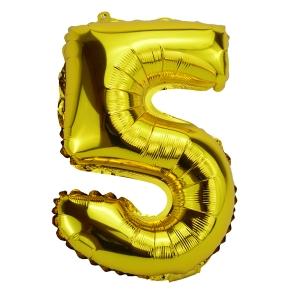 Balon Folie 35cm Cifra 5 - Auriu