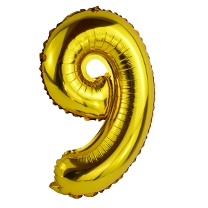 Balon Folie 35cm Cifra 9 - Auriu