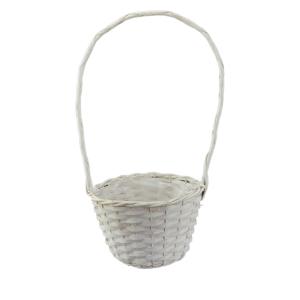 Ambalaje Flori ONLINE vinde Cos impletit manual din rachita alb 20x13 cm la pretul de 15.9 lei