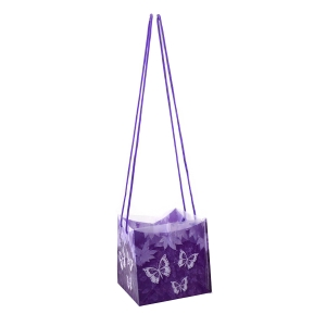 Sacosa pliabila din plastic cu manere siret lungi, mov - ambalaje si accesorii florale