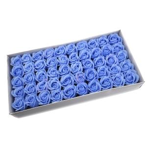 Ambalaje Flori ONLINE vinde Set 50 trandafiri sapun parfumati, atingere reala, 3P, bleo la pretul de 44.99 lei