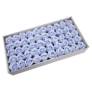 Ambalaje Flori ONLINE vinde Set 50 trandafiri sapun parfumati, atingere reala, 3P, bleo deschis la pretul de 44.99 lei