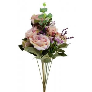 Buchet 7 Trandafiri Roze cu Mov
