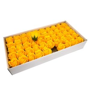 Ambalaje Flori ONLINE vinde Set 50 trandafiri sapun parfumati, atingere reala, 3P, galben intens la pretul de 44.99 lei