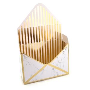 Cutie tip plic marmura alba dungi aurii