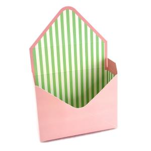 Cutie tip plic roz si dungi verzi