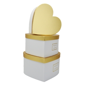Set 3 cutii inima gigant MAISON DES FLEURS alb cu auriu
