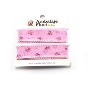 Panglica din organza cu buline roz - ambalaje si accesorii florale