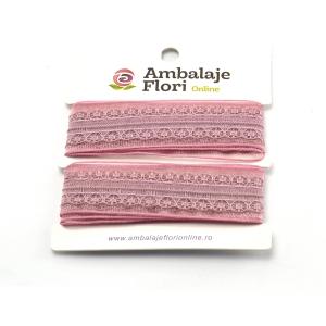 Panglica din organza cu dantela roze - ambalaje si accesorii florale