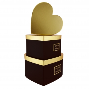 Set 3 cutii inima gigant MAISON DES FLEURS negru cu auriu