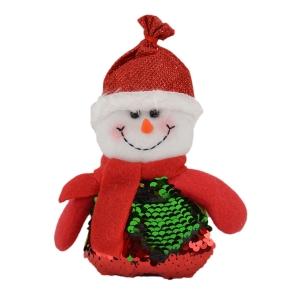 Figurina ornament textil Omuletul zambaret cu paiete color 16cm - ambalaje si accesorii florale