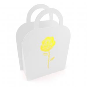 Cutie carton pliabila tip poseta trandafir alb - ambalaje si accesorii florale