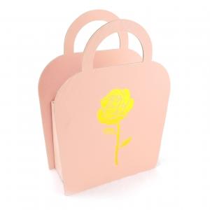Cutie carton pliabila tip poseta trandafir frez - ambalaje si accesorii florale