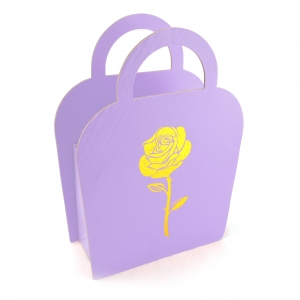 Cutie carton pliabila tip poseta trandafir liliac - ambalaje si accesorii florale
