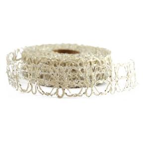 Rola Waves Argintiu/Crem 3cm - ambalaje si accesorii florale
