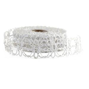 Rola Waves Argintiu/Alb 3cm - ambalaje si accesorii florale