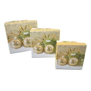 Set 3 cutii patrate globuri gold - ambalaje si accesorii florale