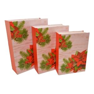 Set 3 cutii tip carte Craciunita ros - ambalaje si accesorii florale