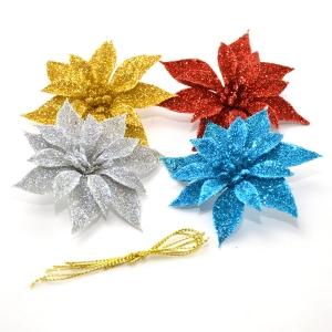Set ornament 4 craciunite cu sclipici S4 D8 - ambalaje si accesorii florale