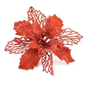 Ornament Craciunita cu sclipici rosie 15cm plastic - ambalaje si accesorii florale