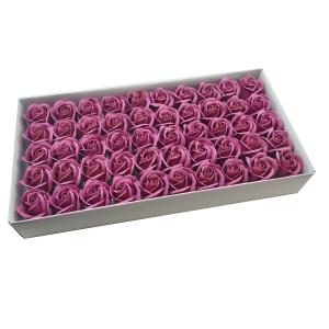 Set 50 trandafiri sapun parfumati, atingere reala, burgundy