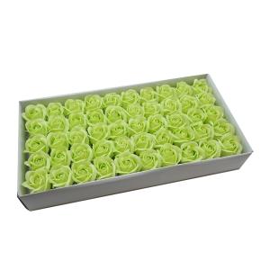 Set 50 trandafiri sapun parfumati, atingere reala, verde mar