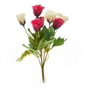 Buchet 7 trandafiri wild alb cu siclam