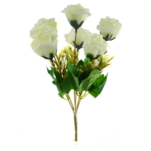 Buchet artificial 6 Trandafiri Madame alb 3-67