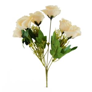 Buchet artificial 6 Trandafiri Madame crem 3-67