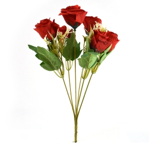 Buchet artificial 6 Trandafiri Madame rosu 3-67