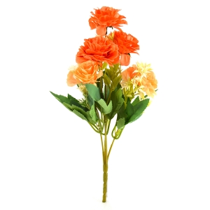 Buchet artificial Trandafir salbatic portocaliu cu somon 3-74