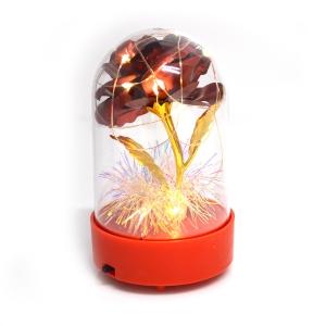 Cupola plastic cu trandafir metalic si lumini led