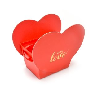 Mini cutie With Love, cu manare satin rosie