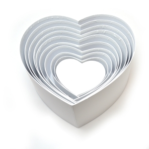 Set 10 cutii inima neinscriptionate alb