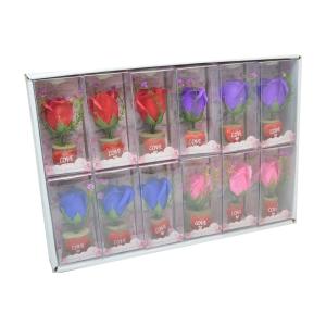 Set 12 ornamente cu trandafiri de sapun si led culori mixte model 1